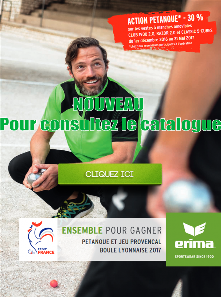Catalogue Pétanque ERIMA 2017